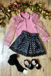 gucci inspired skirt and pretty puffbaff sleeve blouse party wear