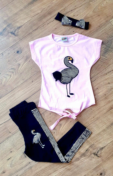 Girls Flamingo Diamanté Set with Cute Pom