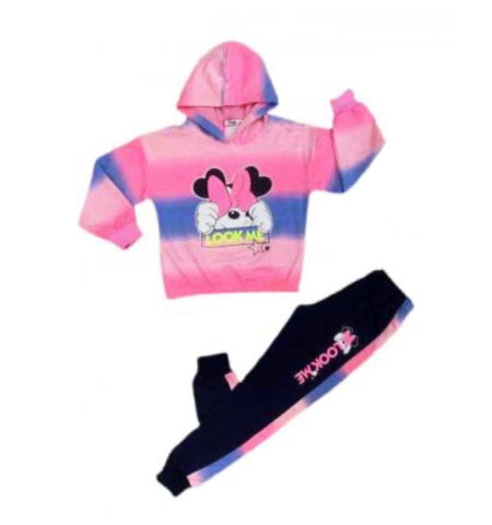 girls trendy mini mouse hooded tracksuit loungewear multi colour