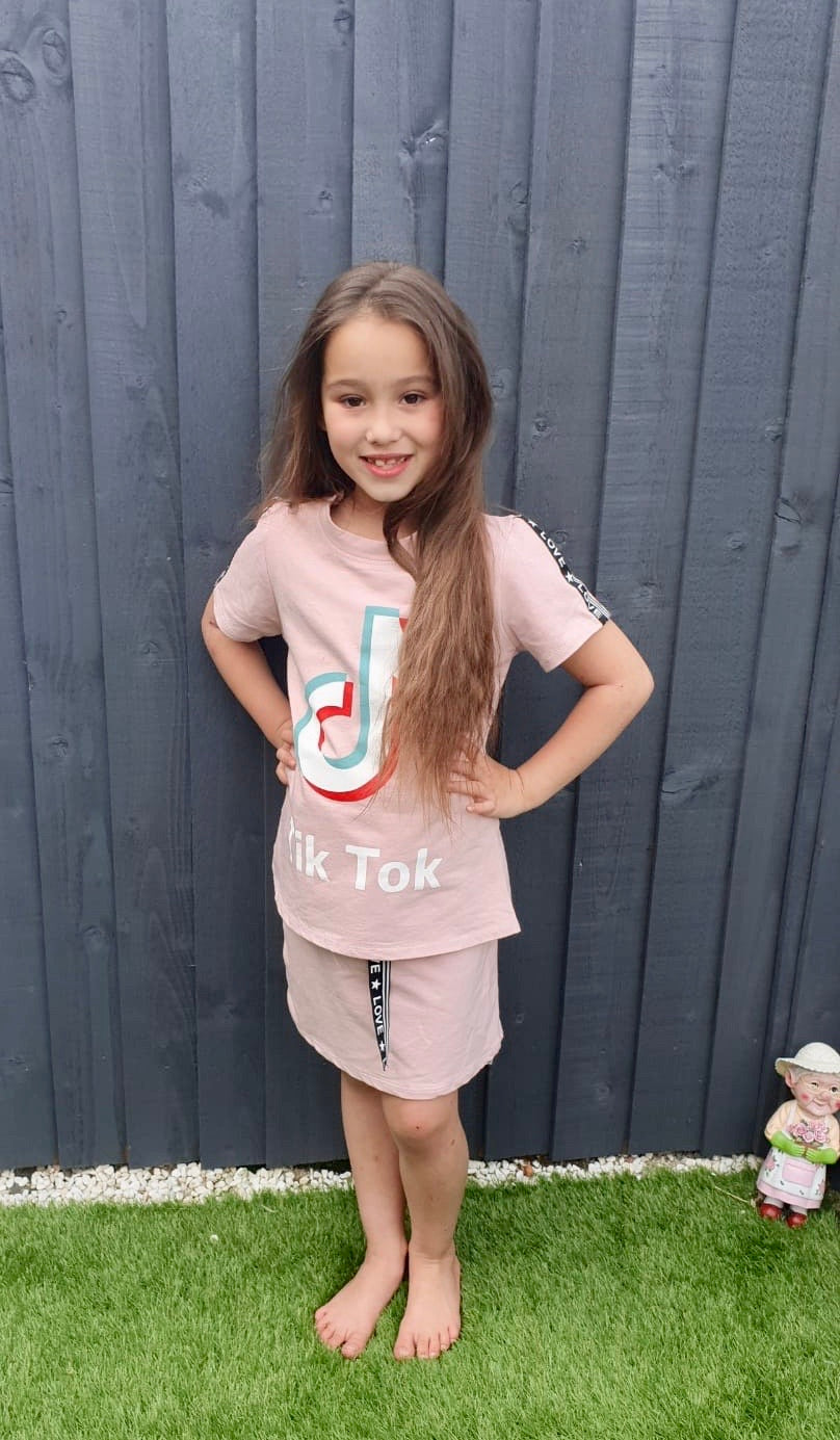 Girls TikTok Top and Skirt Set - Rose Shadow