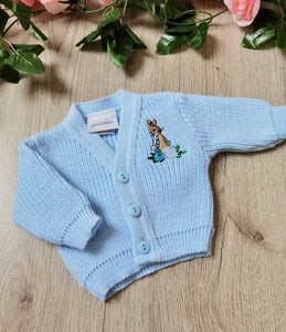 peter rabbit soft knit knitted blue premature cardigian beatrix potter blue