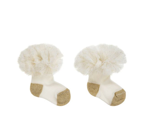 Beau Kid Ivory and Gold Tutu Socks