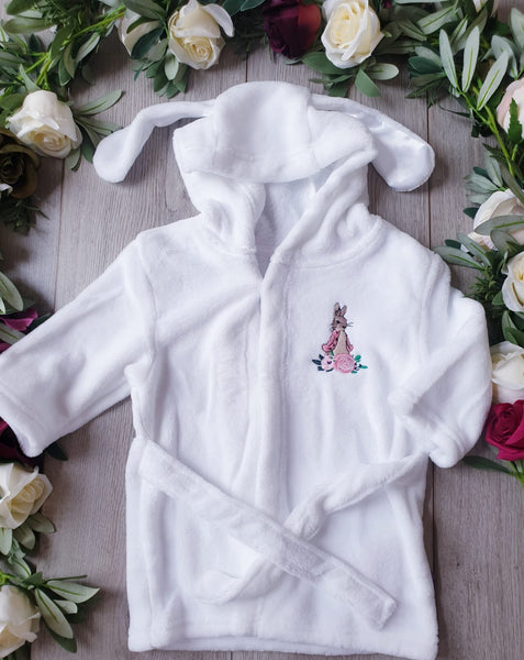 flopsy bunny baby dressing gown robe with ears soft touch
