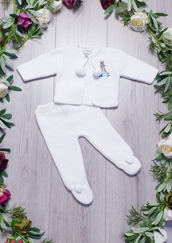 baby boys peter rabbit beatrix potter white pom pom outfit dandelion collection gillytots