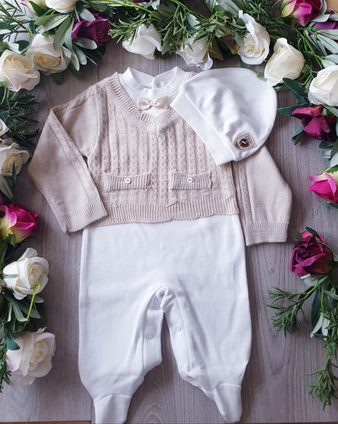 Caramelo Kids Baby Knitted All in One Outfit - Beige