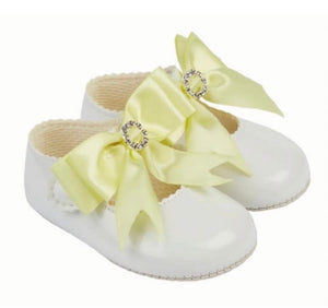baypods lemon silk bow soft sole pram shoes gillytots