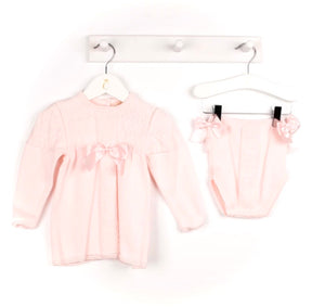caramelo kids two piece knitted baby girls jam pants set with bows in pink baby knit wear