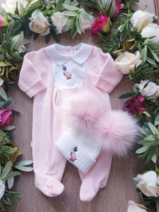 beatrix potter baby girls all in one jemima puddleduck velour pink babygrow gillytots childrens boutique