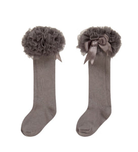 caramelo kids grey tutu socks with cute bow