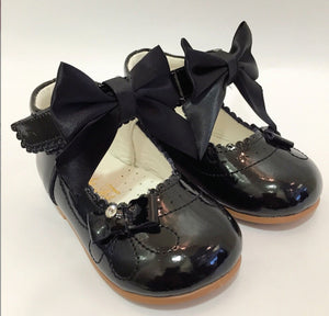couche tot harriet black bow hard sole leather shoes