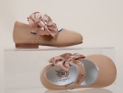 mary jane caramlo kids caramel nude tan hard sole leather girl shoes