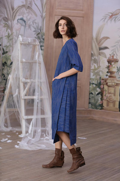 Blue Linen Tunic Dress
