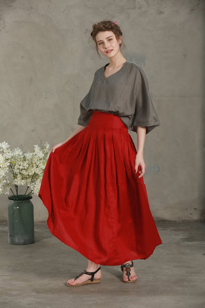 Linen Band Waist Pleated Skirt
