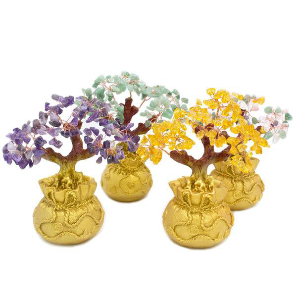 purple, teal, yellow and multicolored gemstone bonsai trees
