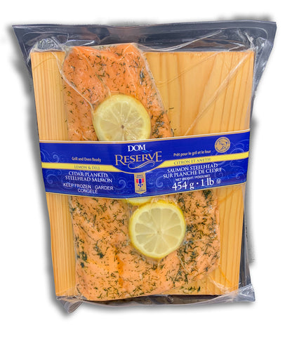FROZEN - CEDAR PLANKED STEEL HEAD SALMON - LEMON AND DILL 454G