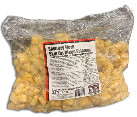 FROZEN SAVOURY HERB SKIN ON DICED POTATOES 5 LB BAG