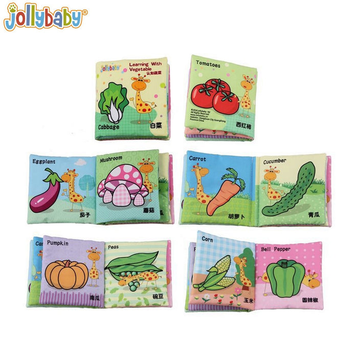 4pcs/lot Jollybaby Soft Book Infant Early Cognitive Development