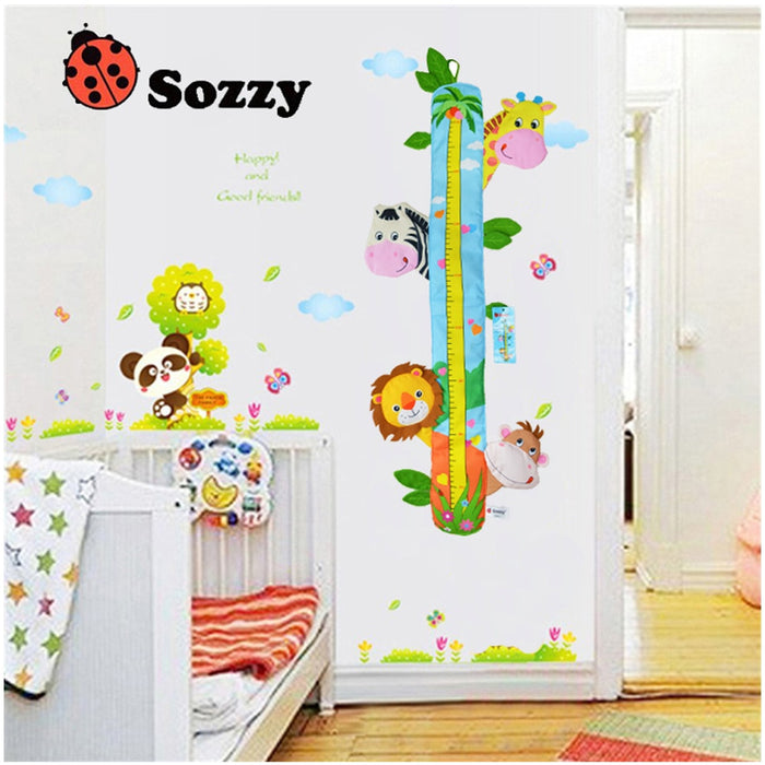 1pcs Sozzy Children Height Chart Measure Wall Decoration Cartoon Animal Rattle