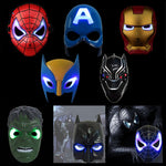 LED Glowing Super Hero Mask The Avengers Spiderman Captain America Iron Man Hulk Batman Party Cosplay Halloween Mask