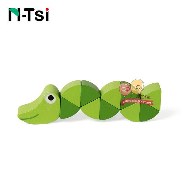 Colorful Wooden Worm Puzzles Kids Learning Educational Didactic Baby Development