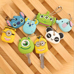 1pcs key cover cap cartoon cute pattern key protection silicone key ring