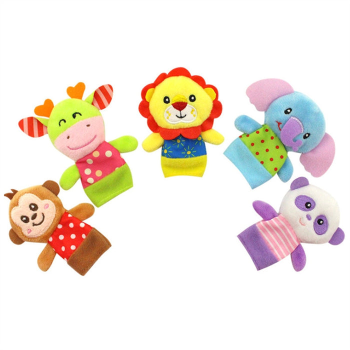 5pcs Soft Cartoon Animal Puppet Finger Baby Plush Toys Children's Educational Toys