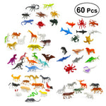 60pcs Kids Mini Animal Toys Set Assorted Plastic Similation Animals Figures Model Toys