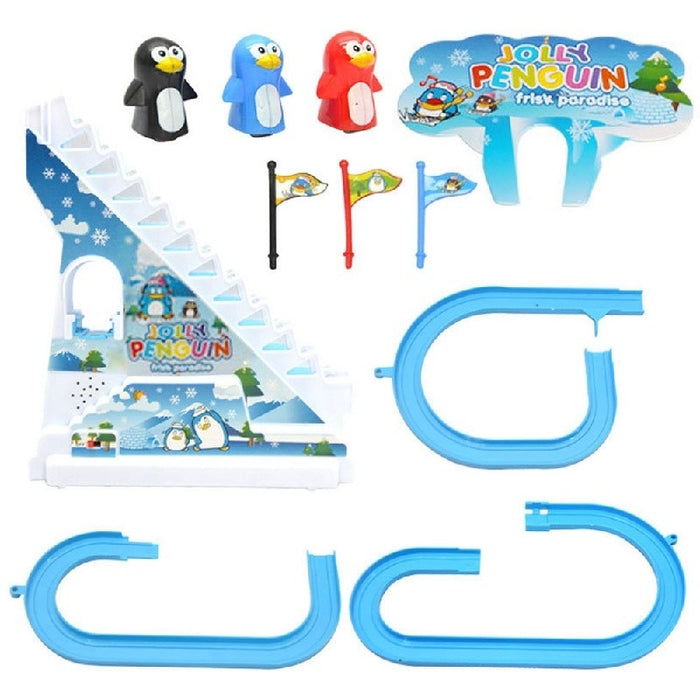 Puzzle Penguin Slides Electric Rail Car Toy with Music