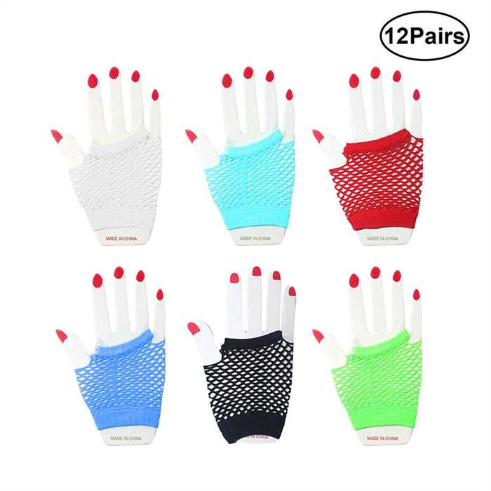 12 Pair Fishnet Adult Gloves Punk Wrist Glove Fingerless Gloves for Nightclub Costume Party Bar