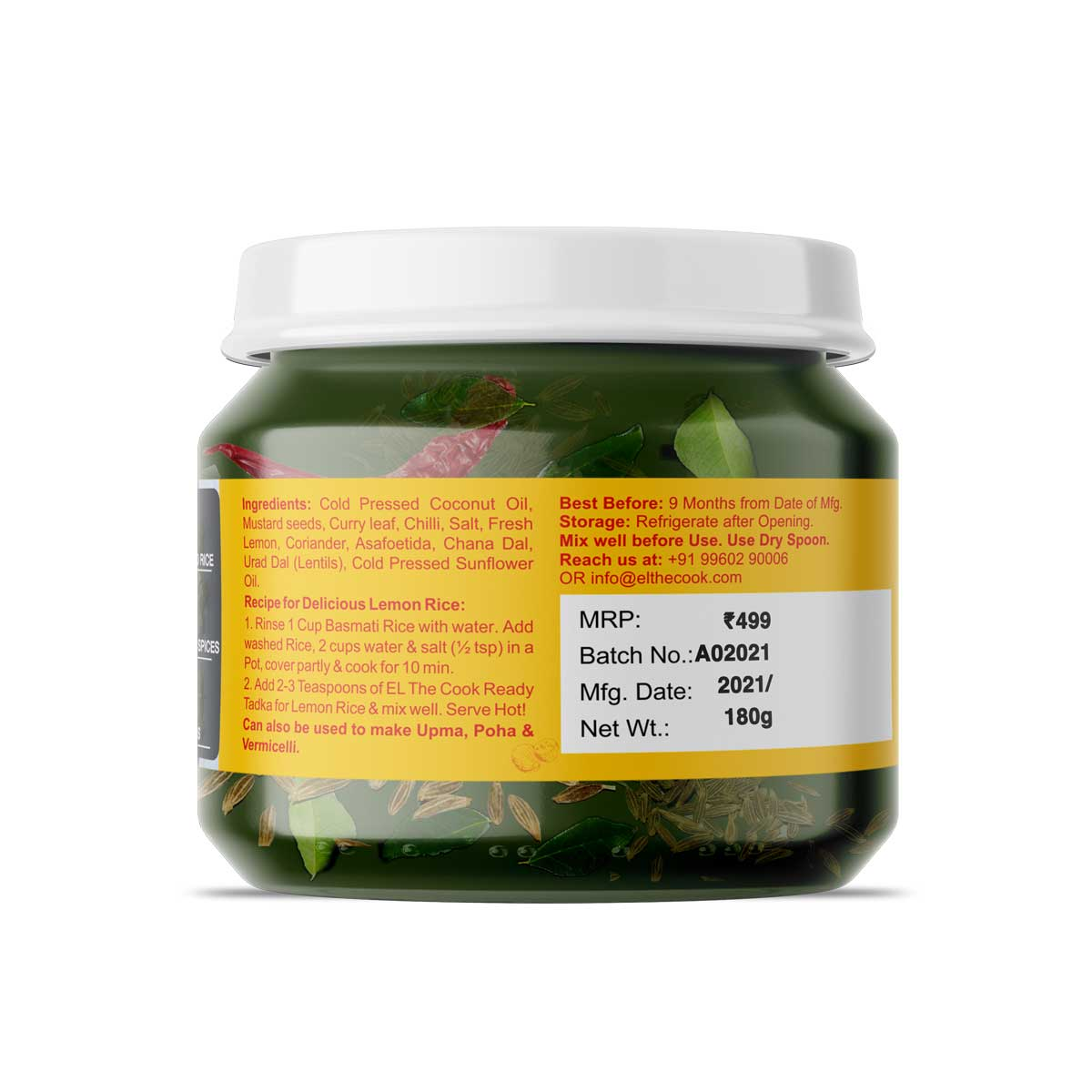 Ready Tadka For Lemon Rice | Jar Pack | 180g