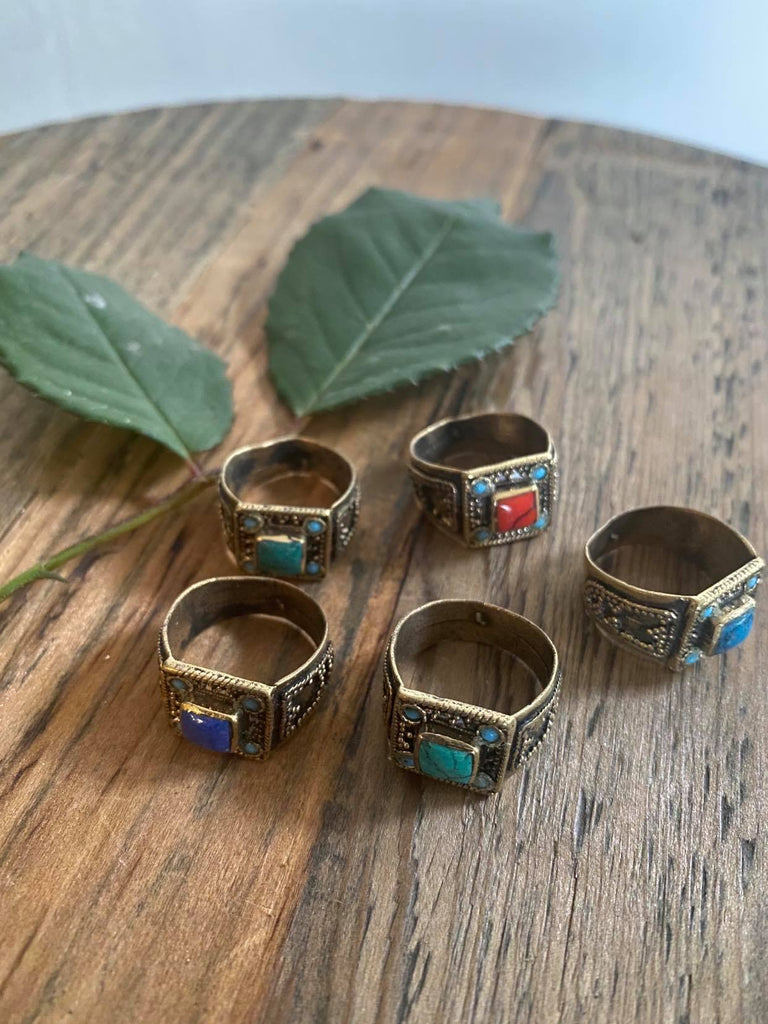 Square Tribal Stone Ring