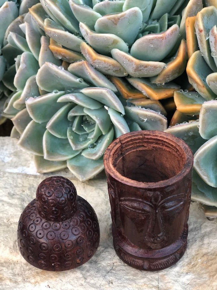 Carved Wood Buudah Canister