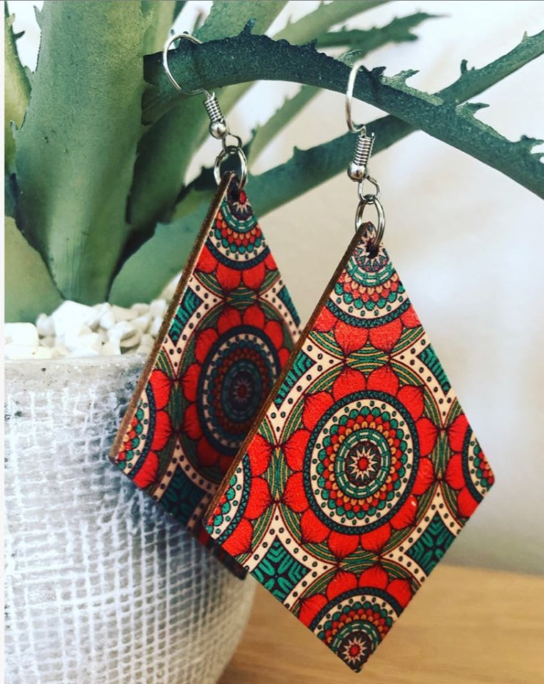 Boho Wood Coloured Earings