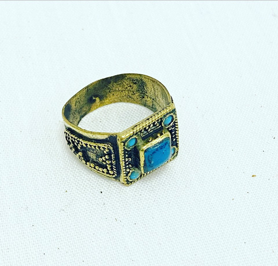Turquoise Square Beaded Tribal Ring