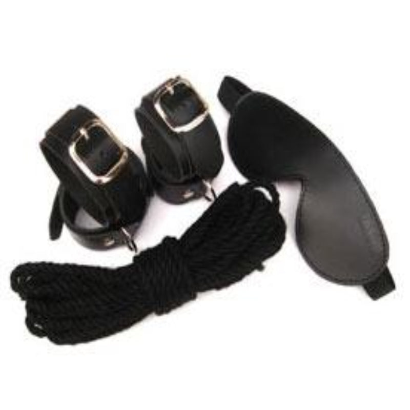 Manor Gear Kit Mask, Wrist/Ankle Cuffs, Blindfold & Rope - Jazzy's Sexy Vibes
