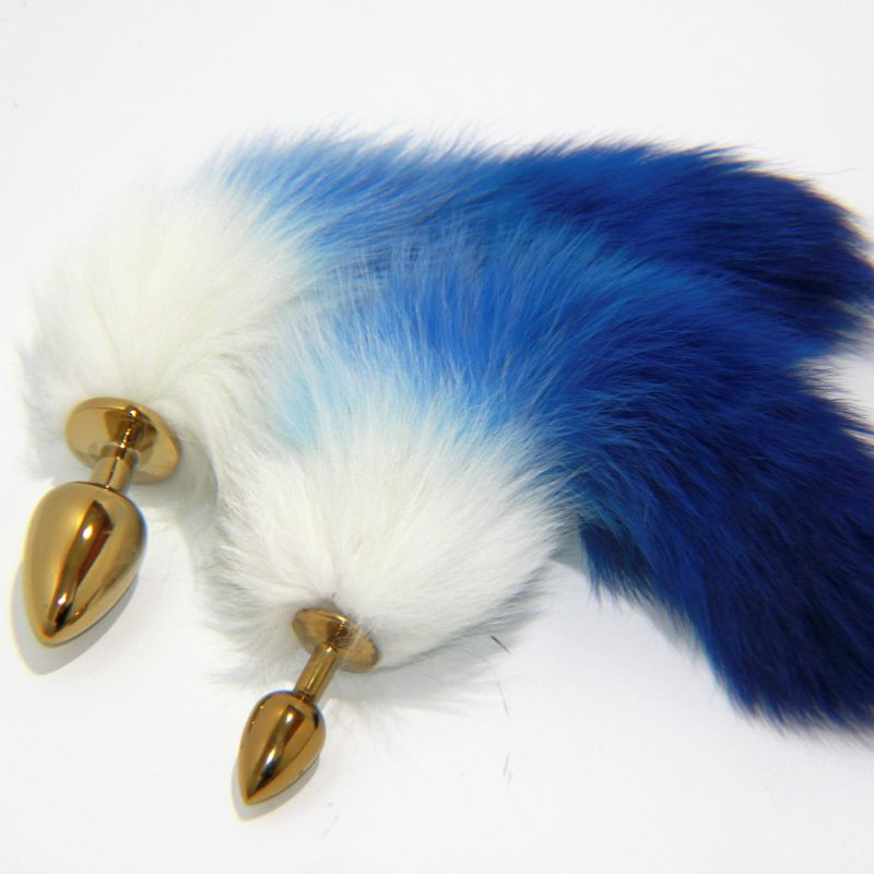 Blue Fox Tail Gold Butt Plug - Jazzy's Sexy Vibes