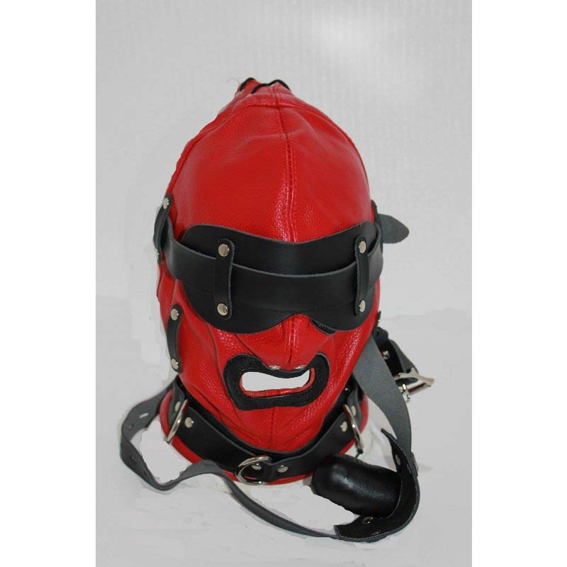 Hellish Red With Black Slave Hood & Blindfold Leather - Jazzy's Sexy Vibes