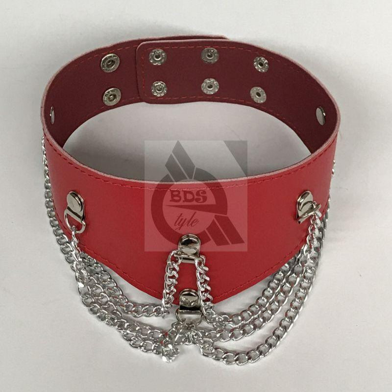 Ladies Fetish Collar With Chains Heavy Red - Jazzy's Sexy Vibes