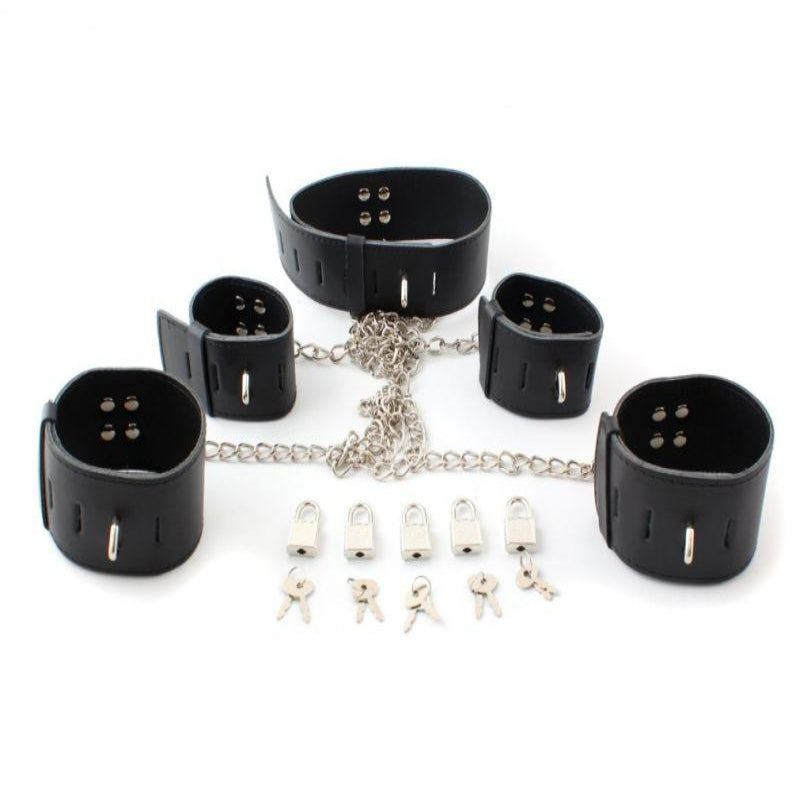 Licks & Lashes Leather Wrist, Ankle and Choker Restraint Set