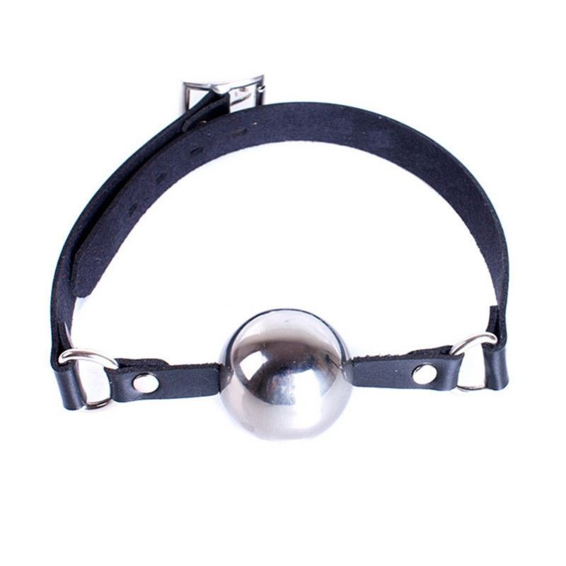 Popper Metal Ball Gag with Leather Straps - Jazzy's Sexy Vibes