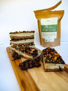 Hulled hemp seed and macadamia caramel slice