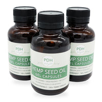 3 bottles of hemp seed oil gel caps