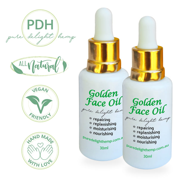 Two 30ml bottles of golden face oil