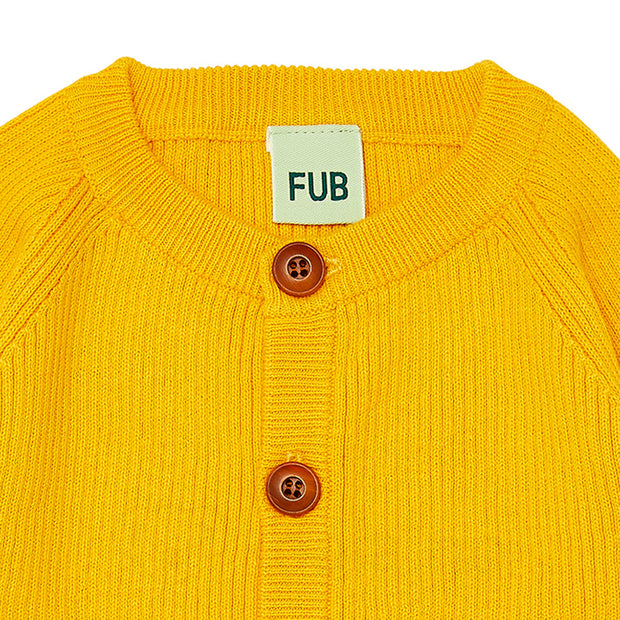 Baby Rib Cardigan: Yellow (gul)