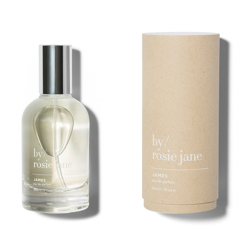 James is a clean, non-toxic fragrance with notes of fig, amber, and gardenia