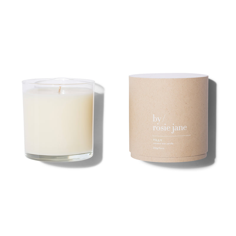 100% coconut wax candle with notes of grapefruit, coconut and gardenia