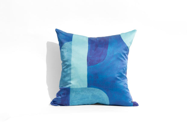Cobalt Blue Blocks | printed silk pillow