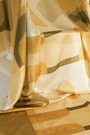 Ochre Blocks | printed silk fabric