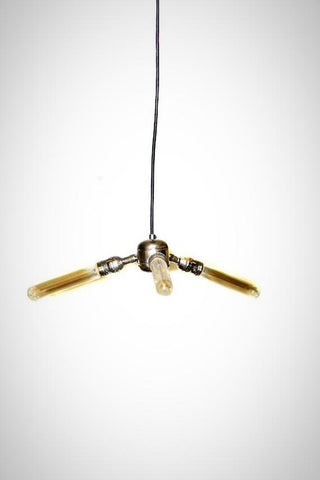 Simply Modern Bare Bulb Triple Light Polished Nickel Pendan /Chandelier - Junkyard Lighting