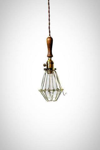 Antique Brass and vintage wood handle caged trouble light pendant shop light ( plug in or hardwire ) Industrial design
